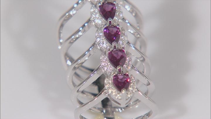 Raspberry color Rhodolite Sterling Silver Ring 2.82ctw