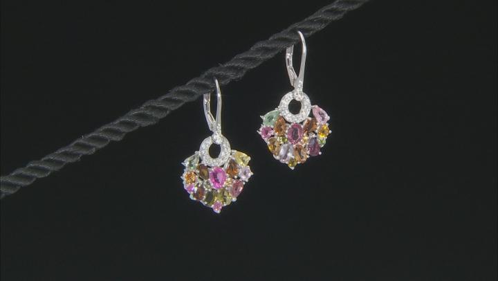 Multi-Tourmaline Sterling Silver Dangle Earrings 4.32ctw