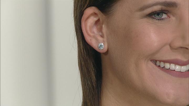 Blue Zircon Sterling Silver Stud Earrings 1.90ctw