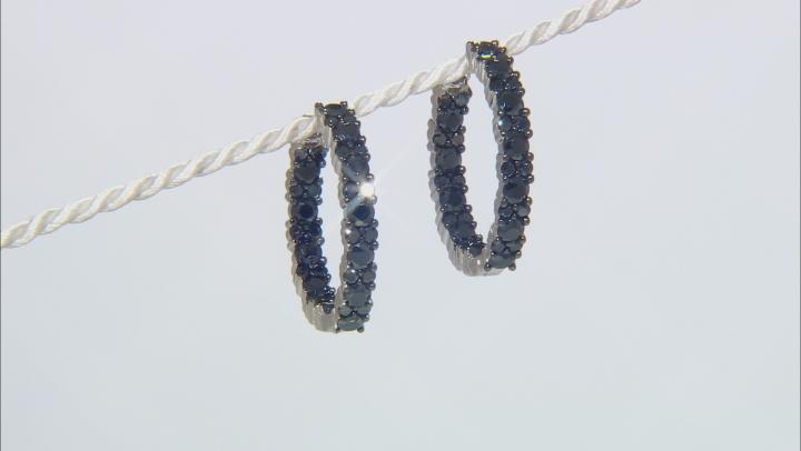 Black Spinel Rhodium Over Sterling Silver Hoop Earrings 4.00ctw