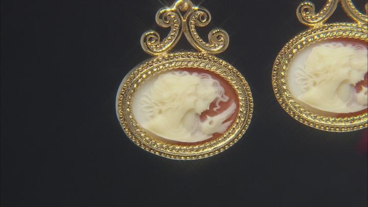 Resin Gold-Tone Cameo Twin Muse Drop Earrings