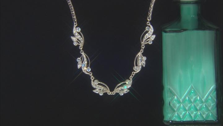 White Swarovski Elements™ Silver-Tone Vine Teardrop Necklace