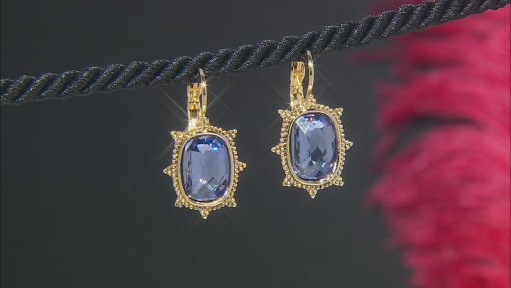 Purple Swarovski Elements™ Gold-Tone Drop Earrings