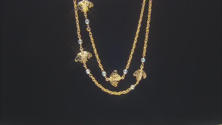Glass Beads Gold-Tone Aurora Borealis Bee Necklalce