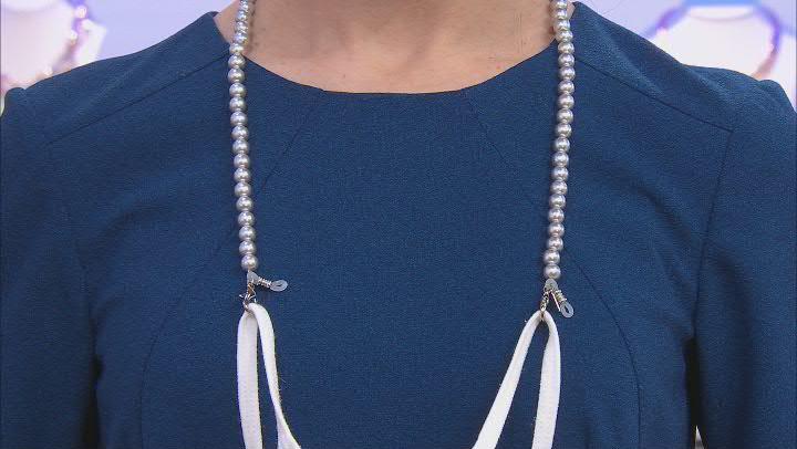 Pearl Simulant Silver-Tone Necklace, Eyeglass Holder, & Mask Holder