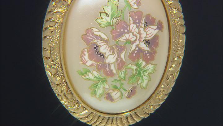 Pearl Simulant Gold-Tone Floral Brooch