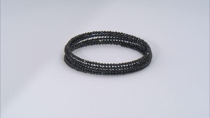 Round Black Spinel Stainless Steel Wrap Bead Bracelet