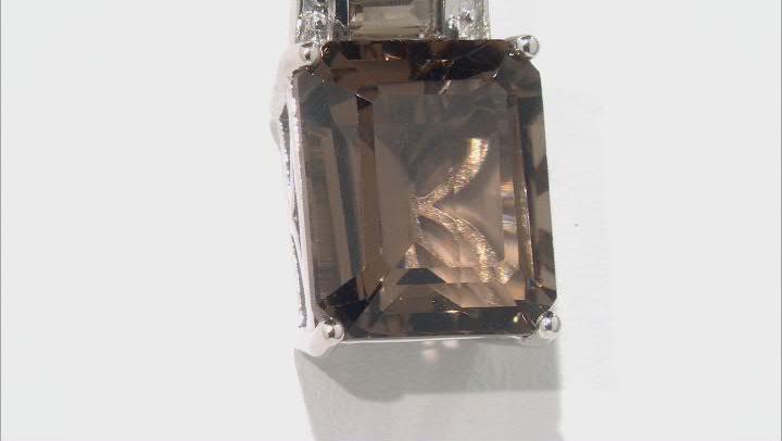 Brown Smoky Quartz Rhodium Over Silver Pendant with Chain 6.33ctw