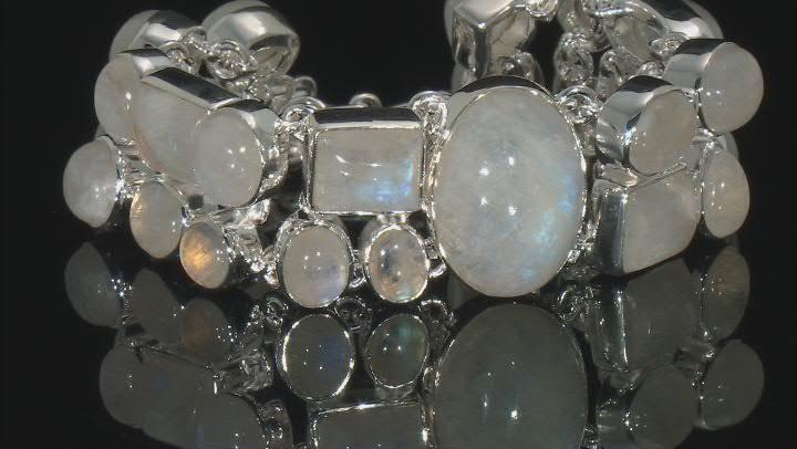 Cabochon Rainbow Moonstone .925 Sterling Silver Adjustable Multi-Row Bracelet