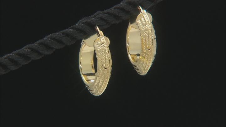 10K Yellow Gold Greek Key Hoop Earrings 10mm