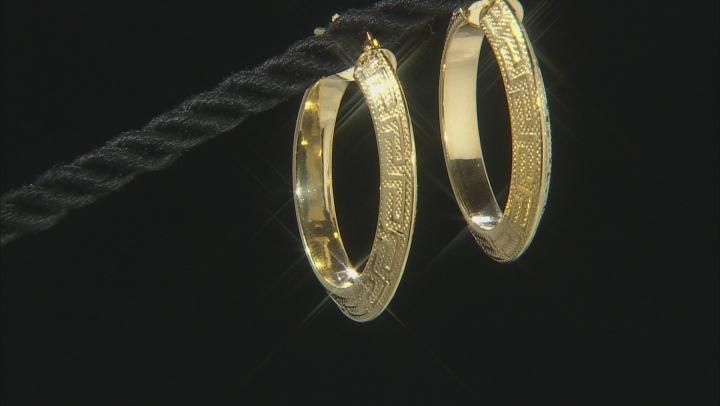 10K Yellow Gold Greek Key Hoop Earrings 20mm