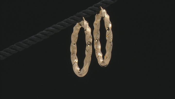 10K Yellow Gold Greek Key Twist Hoop Earrings 25mm