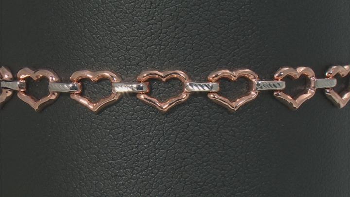 10k White And Rose Gold Heart Link Bracelet