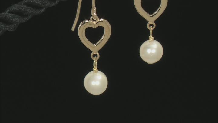 White Cultured Freshwater Pearl 10k Yellow Gold Heart Dangle Earrings