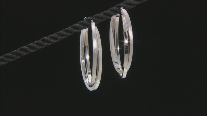 14K WHITE GOLD TWIST HOOP EARRINGS