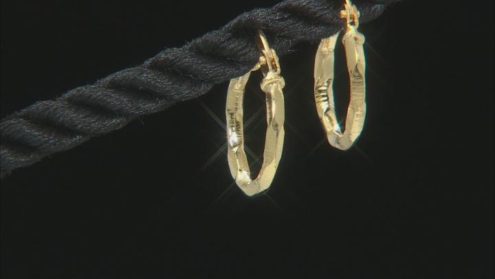10K Yellow Gold Diamond Cut 3D Earrings