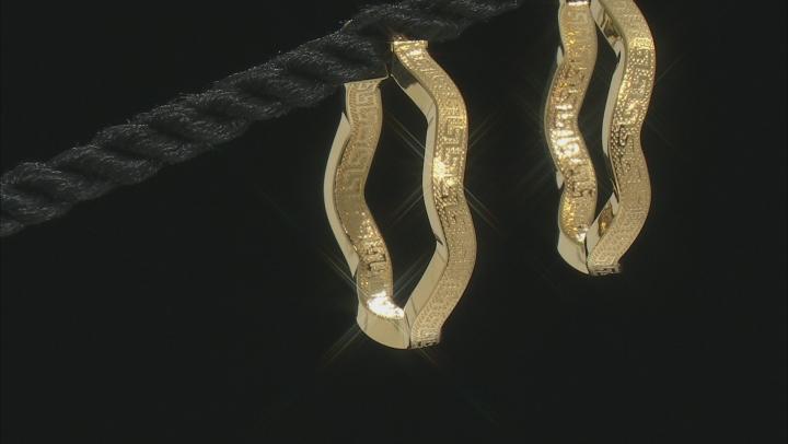 10K Yellow Gold Wavy Greek Earrings