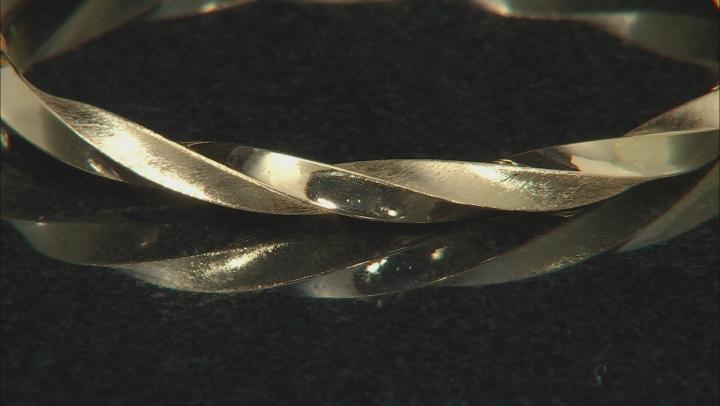 """10K Yellow Gold Satin and Polished 6.75"""" Bangle Bracelet"""