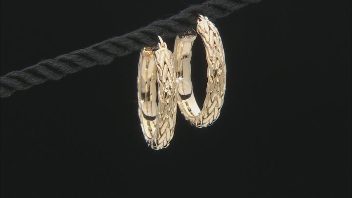 14K Yellow Gold 1 Inch Wheat Border Hoop Earrings