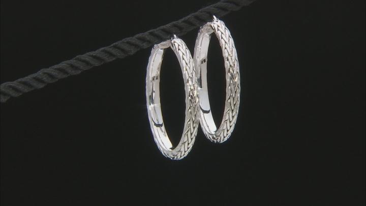 14K White Gold 1.5 Inch Wheat Border Hoop Earrings