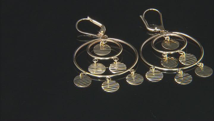 10K Yellow Gold Diamond-Cut Disc Drop Chandelier Earrings