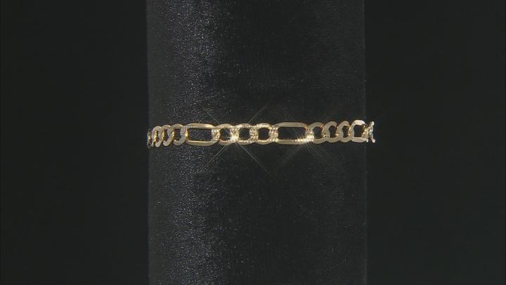 10K Yellow Gold 5.48MM Diamond-Cut Figaro Link Bracelet