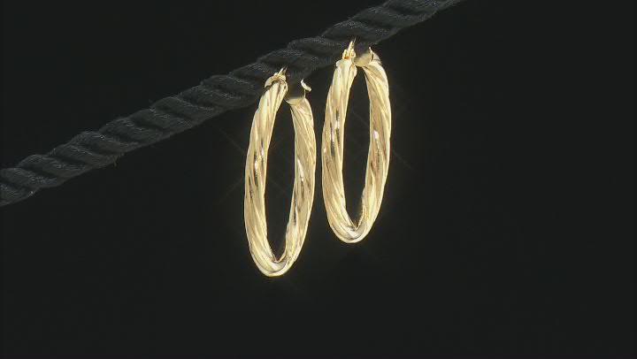 10K Yellow Gold 20MM Torchon Tube Hoop Earrings