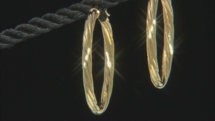 10K Yellow Gold 25MM Torchon Tube Hoop Earrings