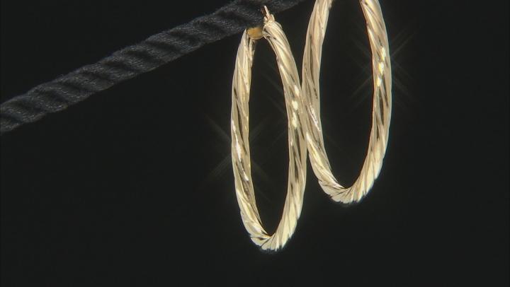 10K Yellow Gold 30MM Torchon Tube Hoop Earrings