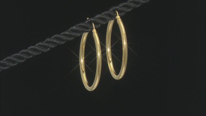 10K Yellow Gold 25MM High Polished Tube Hoop Earrings
