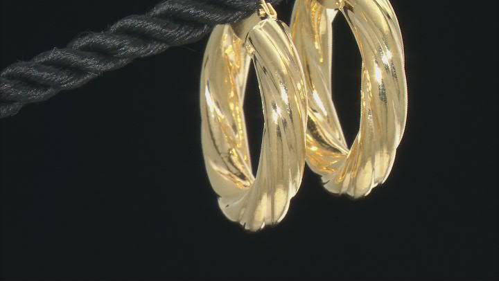 10K Yellow Gold 15MM Wide Torchon Hoop Earrings