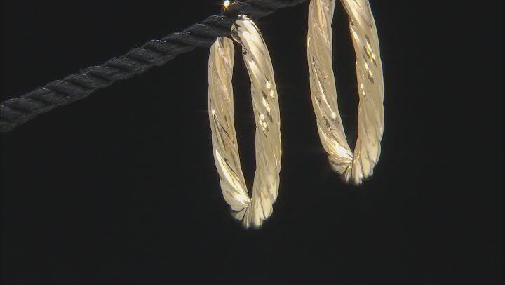 10K Yellow Gold 30MM Wide Torchon Hoop Earrings