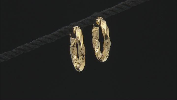 10K Yellow Gold 15MM Greek Torchon Tube Hoop Earrings