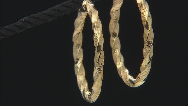 10K Yellow Gold 30MM Greek Torchon Tube Hoop Earrings