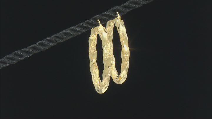 10K Yellow Gold 25MM Greek Torchon Earrings