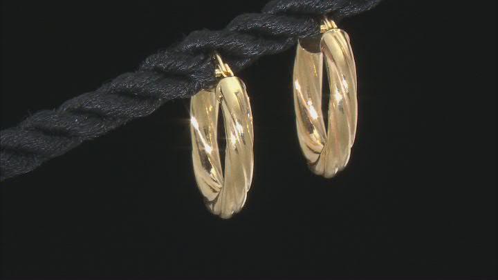 10K Yellow Gold 10MM Torchon Tube Hoop Earrings
