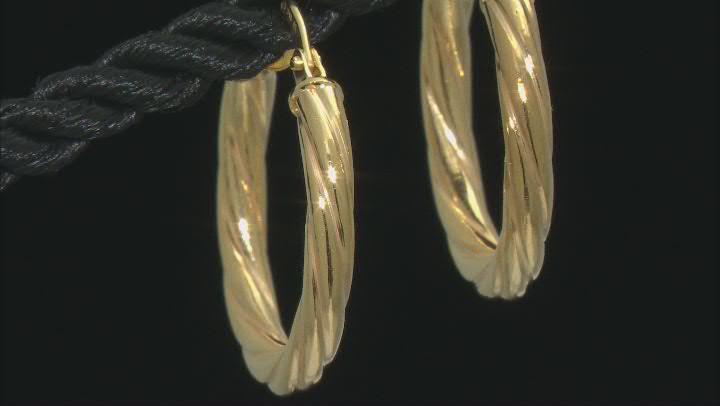 10K Yellow Gold 15MM Torchon Tube Hoop Earrings