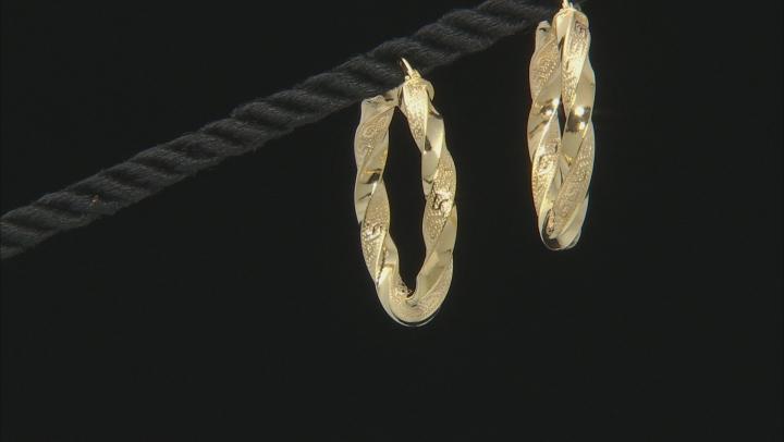 10K Yellow Gold 20MM Greek Torchon Tube Hoop Earrings