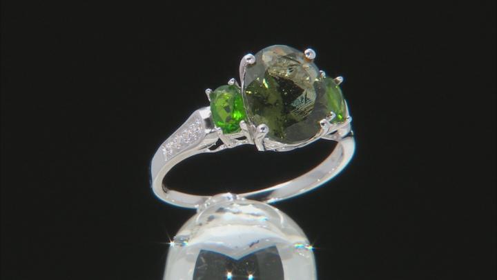 Green Moldavite Sterling Silver Ring 1.93ctw