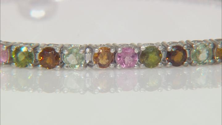 Multi-Tourmaline Rhodium Over Sterling Silver Bracelet. 1.80ctw