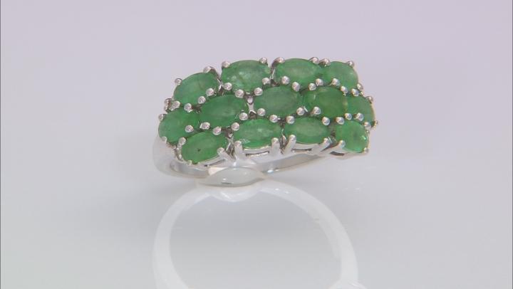 Green Zambian Emerald Sterling Silver Ring 2.87ctw