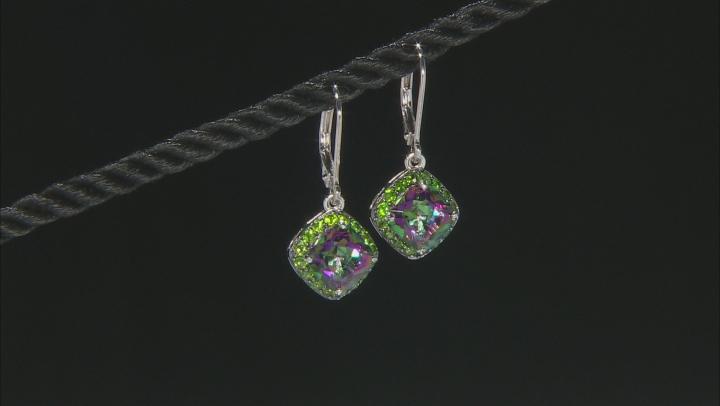 Multicolor Brazilian Quartz Sterling Silver Dangle Earrings 4.44ctw
