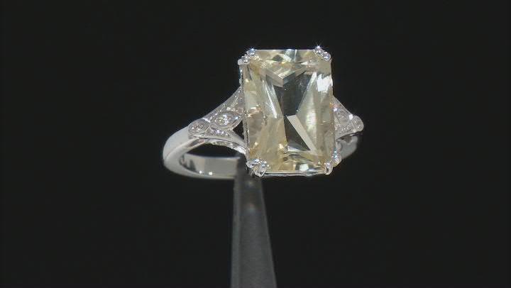 Yellow Labradorite Rhodium Over Sterling Silver Ring 5.36ctw