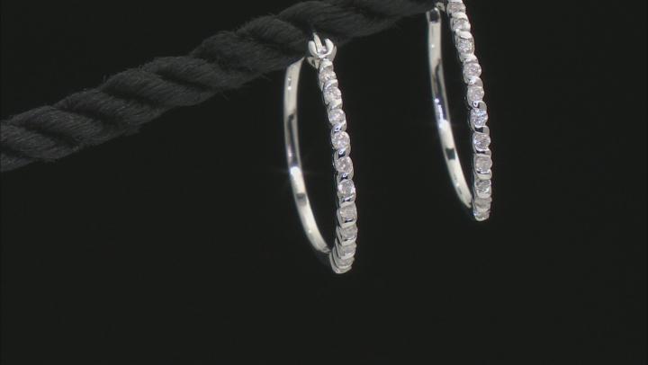 White Diamond 10k White Gold Hoop Earrings 0.25ctw