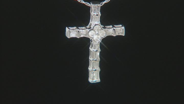 "White Diamond 10k White Gold Cross Slide Pendant With 18"" Rope Chain 0.25ctw"