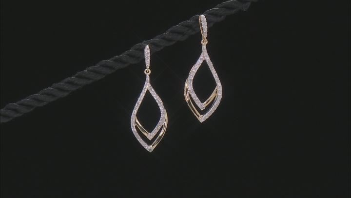 White Diamond 10k Yellow Gold Dangle Earrings 0.50ctw