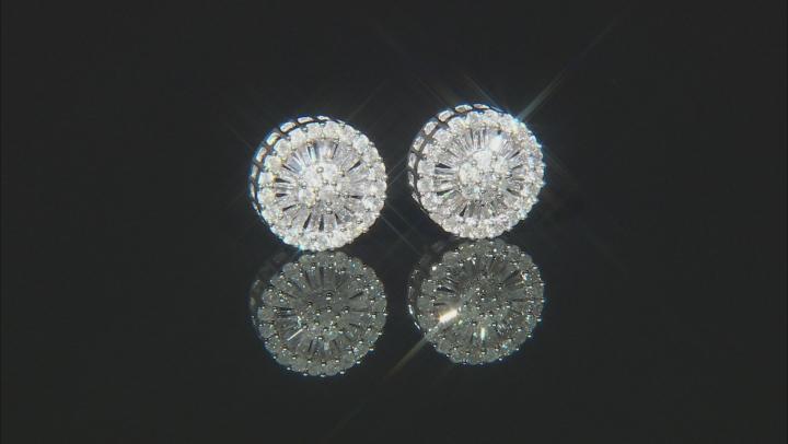 White Diamond 10k White Gold Cluster Stud Earrings 0.74ctw