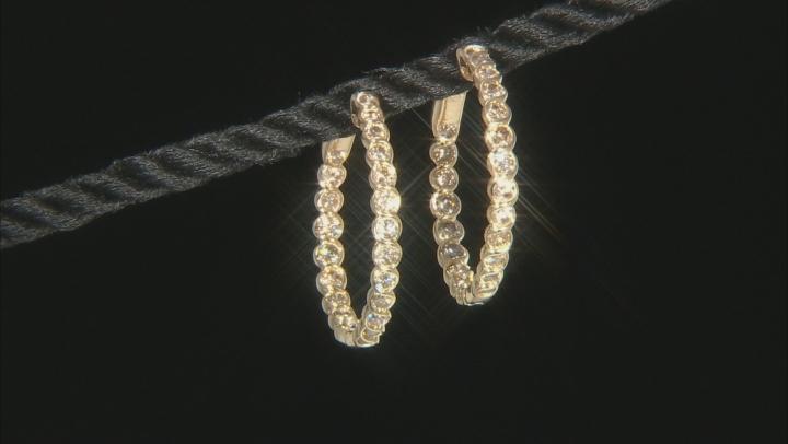 Champagne Diamond 10K Yellow Gold Hoop Earrings 1.50ctw