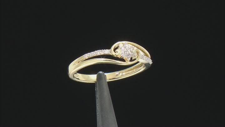 White Diamond 10k Yellow Gold Bypass Promise Ring 0.10ctw