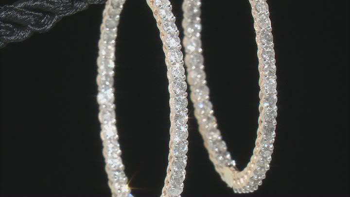 White Diamond 10k Yellow Gold Inside-Outside Hoop Earrings 2.75ctw